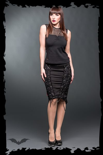 Pencilskirt with lace and decorative rib