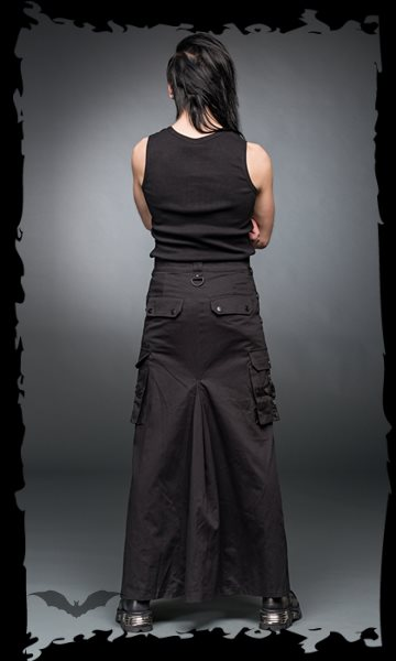 Long skirt with rings and side pockets