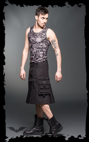 Short men skirt with zippers in the fron