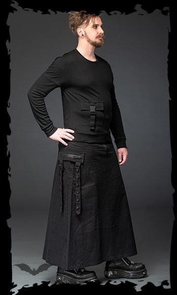 Long skirt with black applications and p
