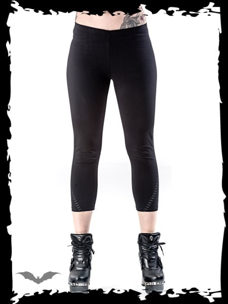Black leggings with zipper print