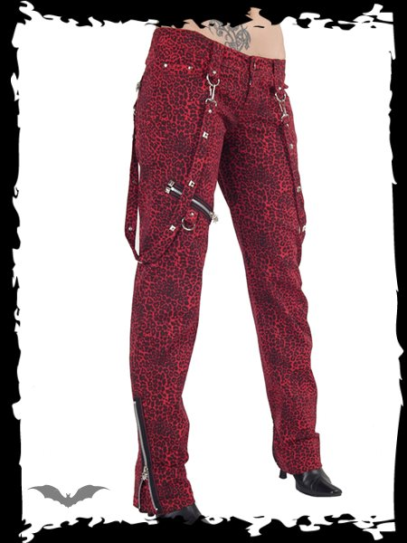 Red leopard print trousers
