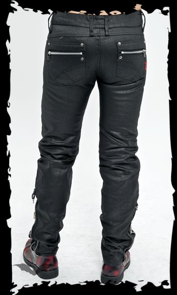 Black trousers with D-rings and zippers