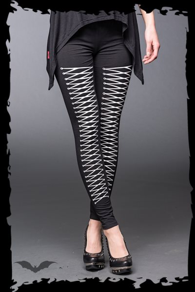 Black Leggings with Lacing Print