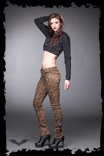 Leopard Jeans with Side Zipper