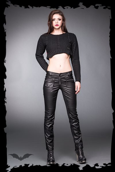 Black Pants with leather look front side