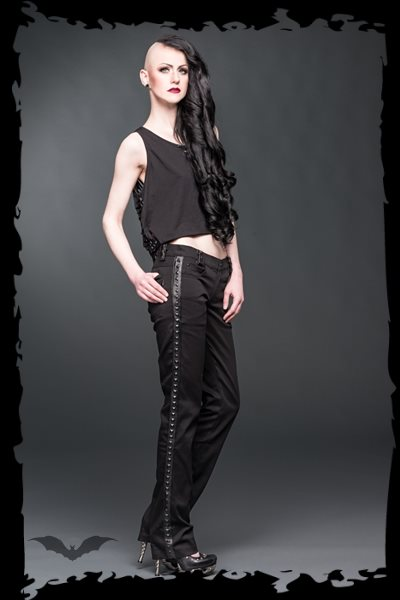 Trousers with fake-leather applications