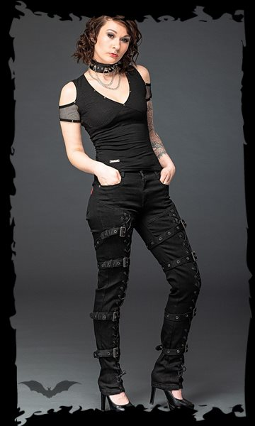 Gothic pants with lacing and buckles