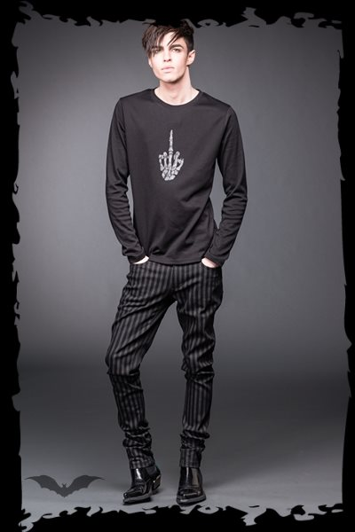 Black and Grey Pinstriped Pants