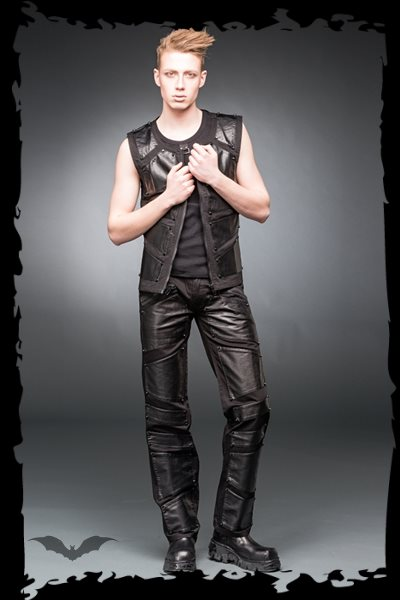 Black pants with metal plate look applic