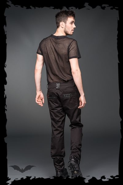 Trousers with black fake-leather applica