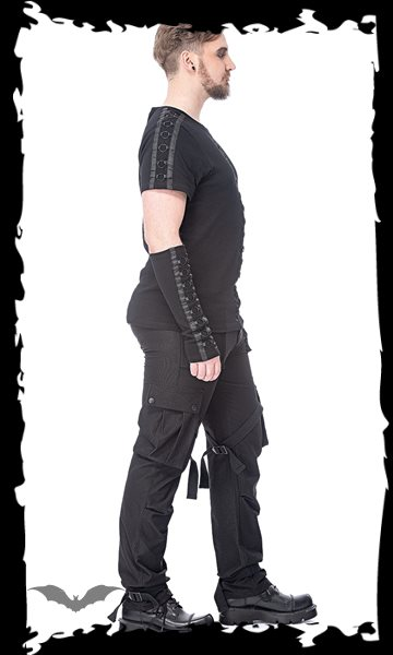 Gothic pants with ribbons, D-rings and m