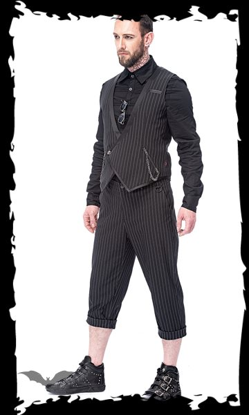 Elegant 7/8 pinstripe trousers with remo