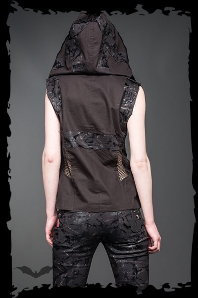 Vest with hood and buttons
