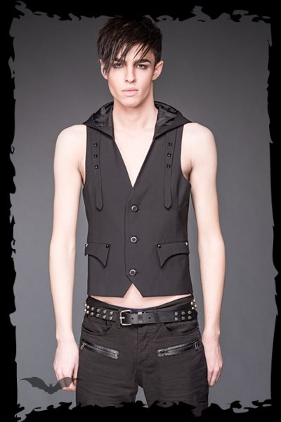 Hooded vest with bondages decorated with