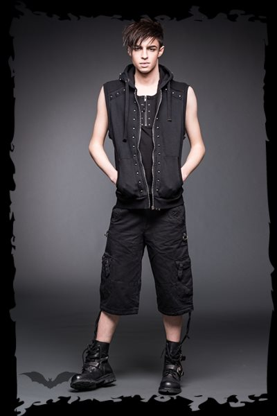 Black vest with studs and hood