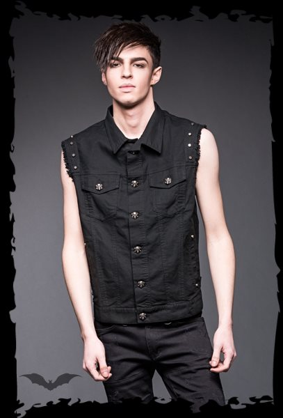 Vest with studs and skull buttons