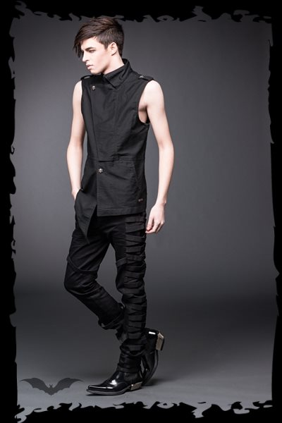 Asymmetrical vest with band collar